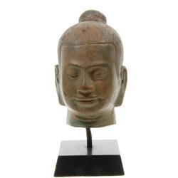 Bronze Burmese Buddha Head on Base (CLB-113)