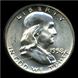 1958D Franklin Half Dollar Uncirculated GEM Graded FBL (COI-4074)