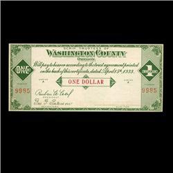 1933 Oregon Depression Warrant $1Crisp Unc (COI-1887)