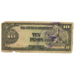 1944 WW2 Japanese Occupation 10 Pesos (COI-1027)