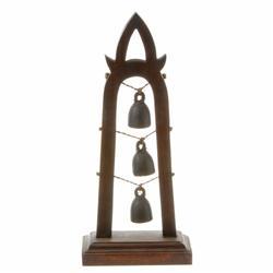 Bronze Temple Bells In Teak Stand (CLB-057)