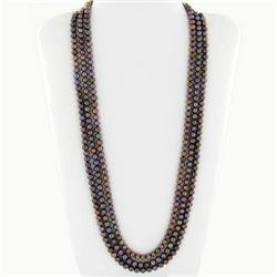 Black Saltwater Pearl Three Strand Necklace (JEW-250I)