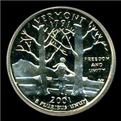 2001 US Vermont Quarter CoinPR70 GEM (COI-3591)