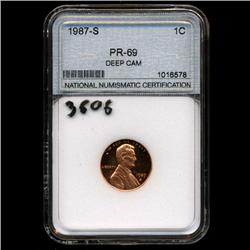 1987S US Lincoln Cent Proof Coin PR69 DCAM (COI-3606)