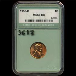 1955D US Lincoln Cent Coin Graded MS67 Red (COI-3617)