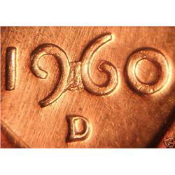 1960D Lincoln Cent Die Error Bridged 9 & 6 BU Rare (COI-3647)