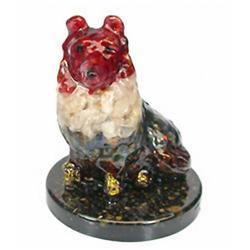 800ct.  Dog Statue Statue Fancy Sapphire~Topaz RETAIL $1350 (GEM-2898)