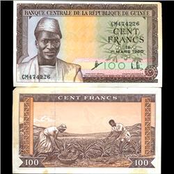 1960 Guinea 100 Franc Note Hi Grade (COI-3890)