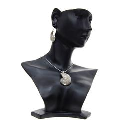 Polished Shell & Sterling Necklace Earrings (JEW-192)