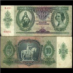 1936 Hungary 10 Pengo Note Scarce (COI-3940)