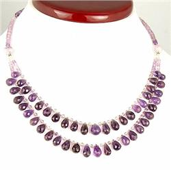 """167ct. Top Quality Natural Amethyst Brioletes Necklace 18"""" RETAIL $5500 (JEW-1152)"""