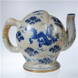 Vintage Chinese Topless Teapot Blue & White (ANT-005)