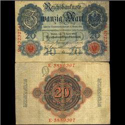 1910 Germany 20 Mark Note Hi Grade (COI-3896)