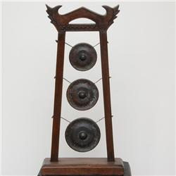 Bronze Temple Bells In Teak Stand (CLB-056)