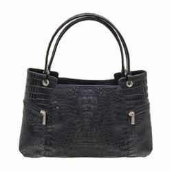 Ladies Black Crocodile Handbag (ACT-092)