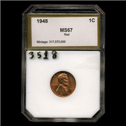 1948 Lincoln Cent Red Unc GEM++ Graded  (COI-3518)