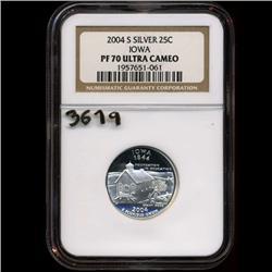2004 US Silver Iowa Quarter Coin PR70 GEM (COI-3619)