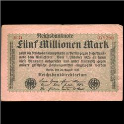 1923 Germany 5m Mark Note Hi Grade (COI-3899)