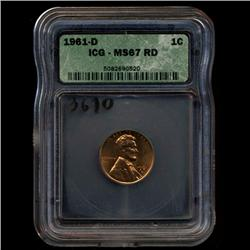 1961D Lincoln Cent Coin GEM Graded MS67 RED (COI-3610)