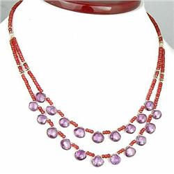 179ct. AAA Top Quality Natural Garnet & Amethyst Briolette Necklace 18 RETAIL $5500 (JEW-1150)