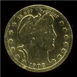 GOLD PLATED BARBER QUARTER DOLLAR (COI-3825)