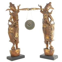 Vintage Gilded Handcarved Teak Temple Guards With Gong (ANT-187)
