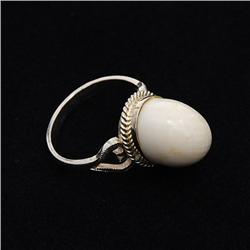 Sterling Silver & Antique Ivory Ring (JEW-153)