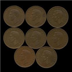 1944-1952 New Zealand AU+ 1/2 Penny Set (COI-1271)