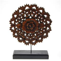 Burmese Teak Carved Lotus Panel On Base  (CLB-311)