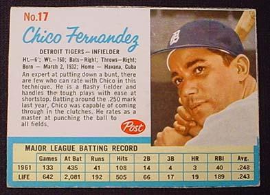 1962 Post Cereal Baseball Card Chico Fernandez No