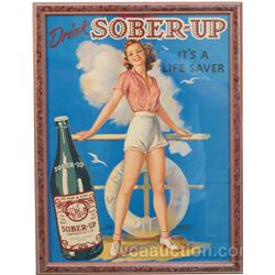 Drink  Sober-Up  Pin-Up Girl Cardboard Sign In Frame -