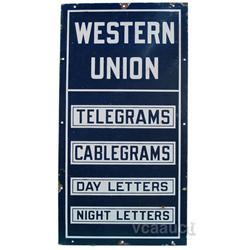 """Western Union Porcelain Sign - 18"""" x 34"""""""