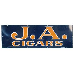 """J.A. Cigars Porcelain Sign, Has Some Touch-Up - 36"""" x 1"""