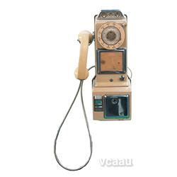 Old Hanging Rotary Pay Phone, Cream/Pink MFG By Norther