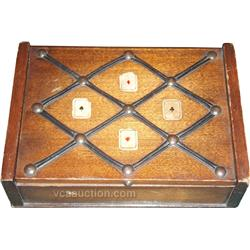 Decorated Wooden Card Case - Wooden case is decorated w