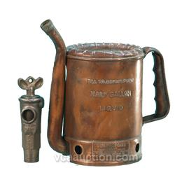 """Lot Of 2 Items: Old Brass Oil Can """"Swingspout"""" & Old Sh"""