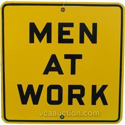 Men At Work Porcelain Sign, Yellow & Black, Mint Condit