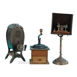 Lot Of 3 Items: Old Countertop Hand Crank Coffee Grinde