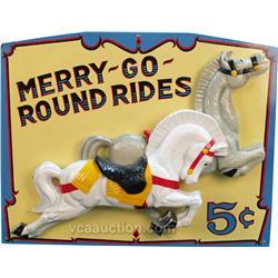 "Wooden 3-D ""Merry-Go-Round"" Rides 5 Cent w/ 2 3-D Horse"