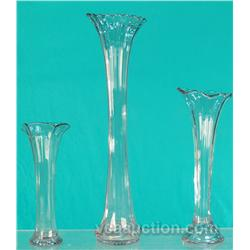 """Lot Of 3 Early Purple Glass Vases: 17"""", 12"""" & 9"""" Tall"""