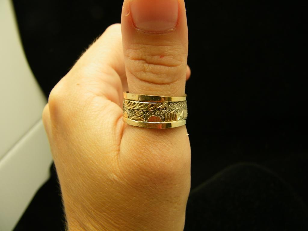 Sterling and 12 KGF Story Teller Ring Signed B