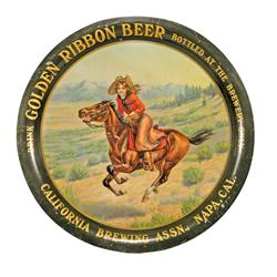 Golden Ribbon Beer Tin Serving Advertising Tray. California Brewing Assn., Napa Valley, CA