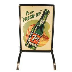 Seven-Up Soda Tin/Iron Sidewalk Advertising Sign