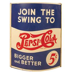 Pepsi Cola Advertising String Holder. Two sided tin, double dot, 5 cent