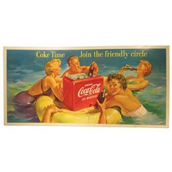 Large Coca Cola Cardboard Advertising Sign, 1955
