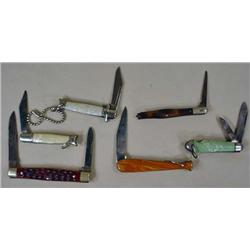 LOT OF 6 VINTAGE POCKET KNIVES - Incl. Case, Colon