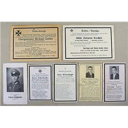 LOT OF 7 WW2 NAZI GERMAN DEATH CARDS