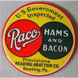 ANTIQUE ROCO HAMS AND BACON CELLULOID ADVERTISING