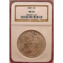 1889-P MORGAN SILVER DOLLAR - NGC MS64