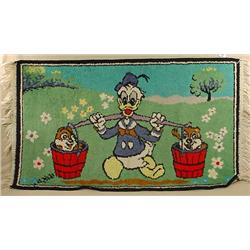 "VINTAGE DONALD DUCK THROW RUG - APPROX. 43"" BY 40"""